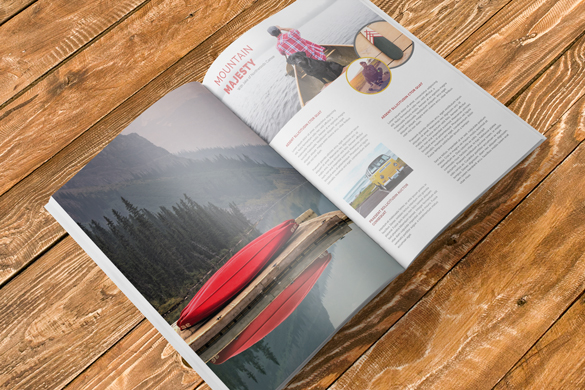 full magazine layout image, canoe is visible